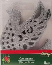 Christmas Ornaments Silver Dove Glitter 5 Ct/Pk w - $5.49