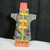 Beautiful KIMONO WINE BOTTLE COVER with WINE GLASS CHARM RINGS Never Use... - $24.95