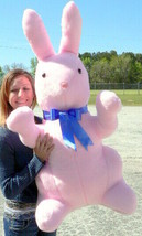 Giant Stuffed Bunny Rabbit 42 inches Pink Color Stuffed Soft Made in the USA - $117.11