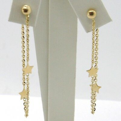 Drop Earrings Yellow Gold 750 18k, Chain Rolo and Stars, under the Lobe