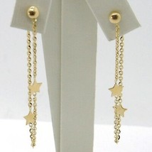 Drop Earrings Yellow Gold 750 18k, Chain Rolo and Stars, under the Lobe image 1