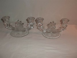 PAIR DOUBLE FOSTORIA CANDLE STICK HOLDERS BASE ETCHED - $42.57