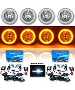 """5-3/4"""" Amber SMD LED Halo Crystal Clear H4 Headlight & 6k HID Bulb Set of 4 - $279.95"""