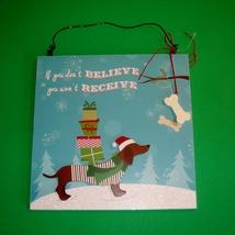 "Dachshund Christmas Holiday Plaque  10"" x 10"" - $18.50"