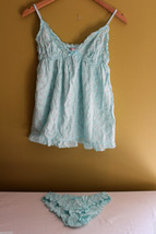 NEW! Victoria's Secret Angels Babydoll Aqua Blue Embroidered Cute Nightie Set M - $24.99