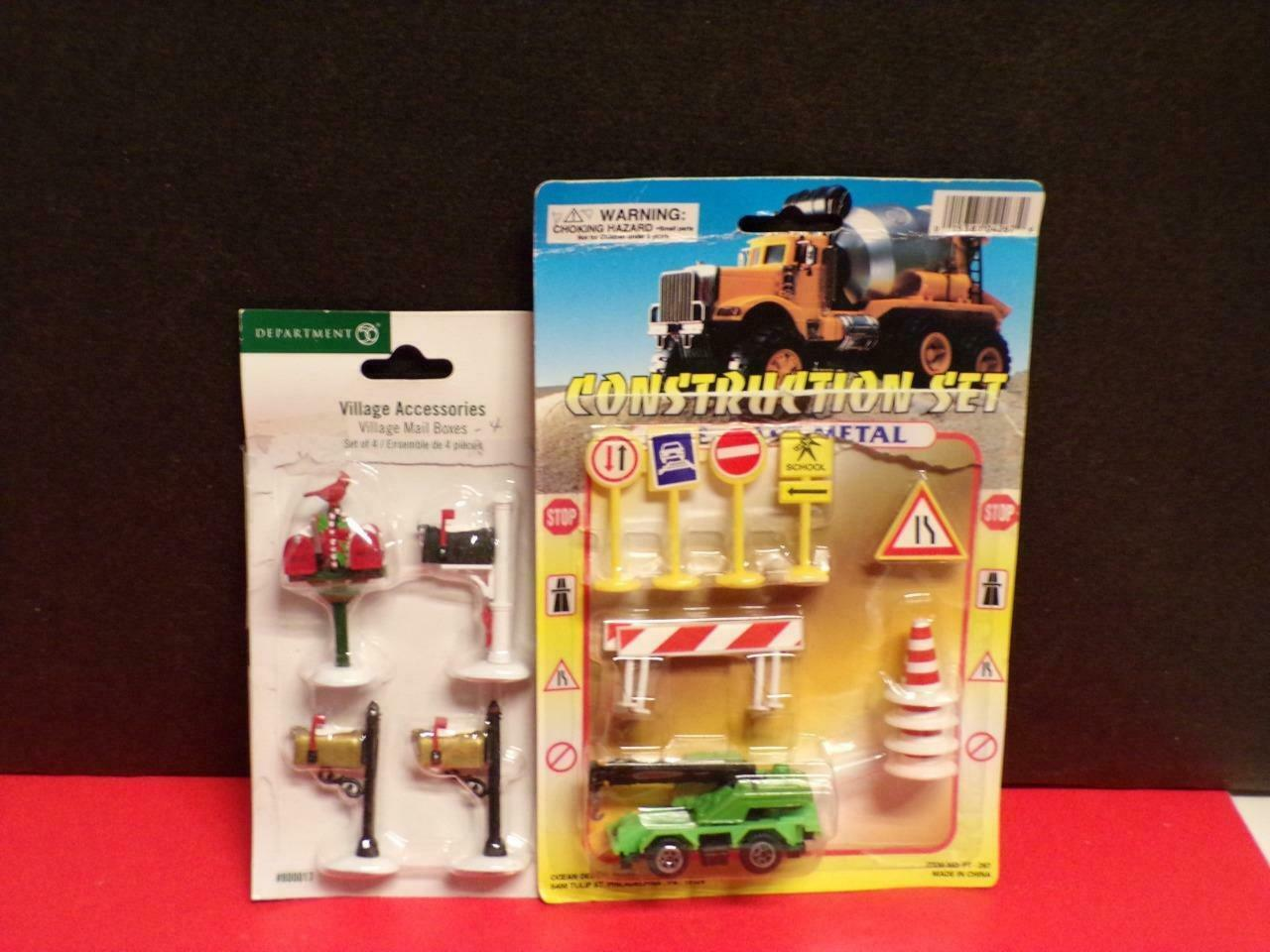Primary image for DRESS UP YOUR VILLAGE- 4-DEPT 56 MAILBOXES & CONSTRUCTION SET- UNKNOWN MFG.