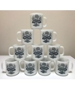 Glasbake Blue Onion Old Town Floral White Milk Glass Mugs Cups Set of 10 - $87.99