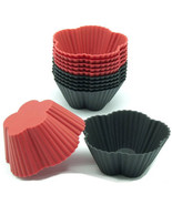 Black/Red silicone cupcake liners 12 pk  baking cups baking candy making... - $19.95
