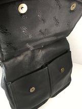 Fossil Vintage Black Leather Multi Pocket Shoulder Bag Brass Tone Hardware image 3