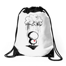 Sad, Rain Heard Drawstring Bags - $30.00