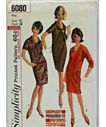 Vintage 1960s Simplicity Sewing Pattern 6080 Dress Size 12 32B - $16.19