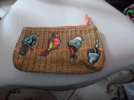 vera bradley small straw zipper pouch in flower shower with birds  - $23.50