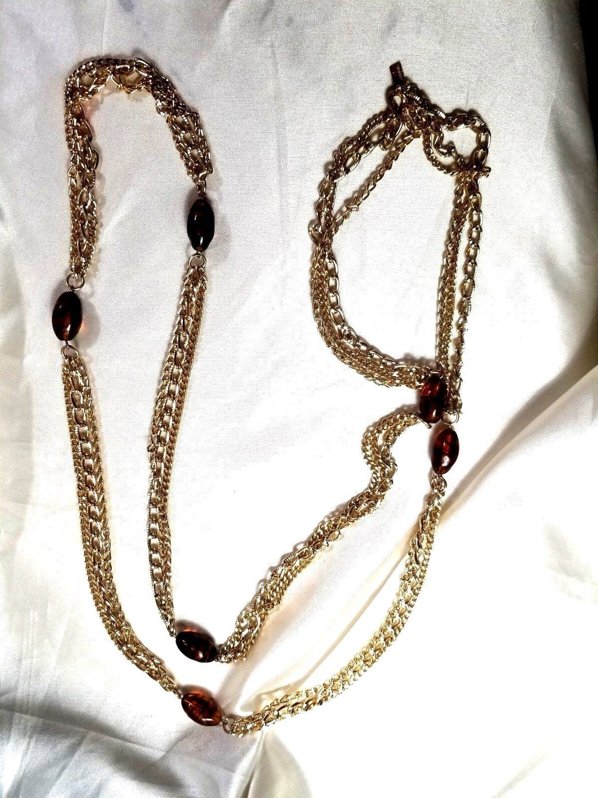 "Emmons 54"" Goldtone Chain w Amber Beads 3 Strand Flapper Necklace Very VTG - $20.00"