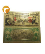 1875 Year USD Banknote Gold Plated 100 Dollar Gold Foil Banknote Colorfu... - £3.84 GBP