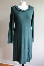 Talbots M Green Ruffle Neck Long Sleeve Sweater Dress - $45.60