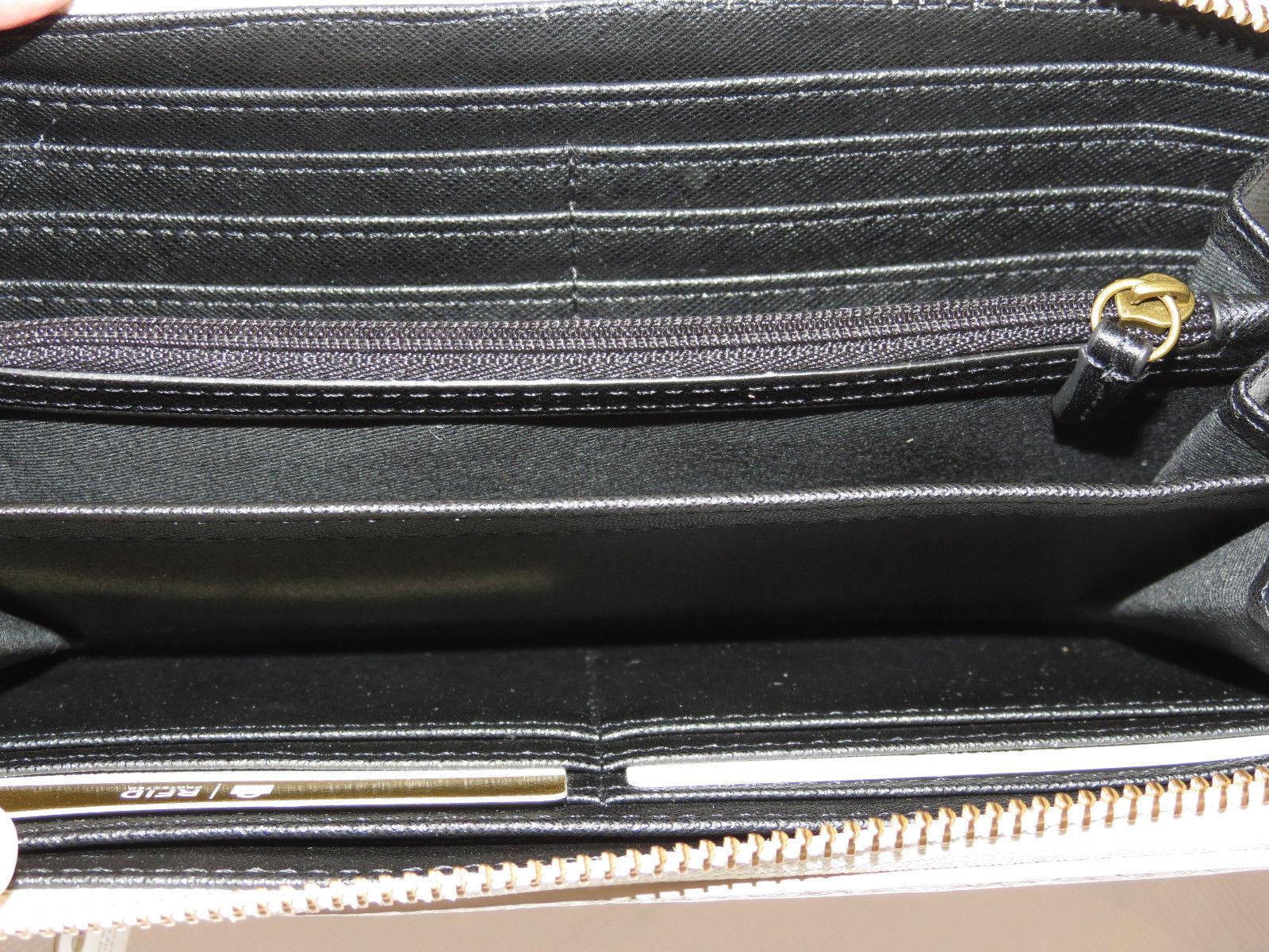 Fossil SL7477080 Emma LG Zip Clutch Black Strip Wristlet RFID multi wallet NWT*^