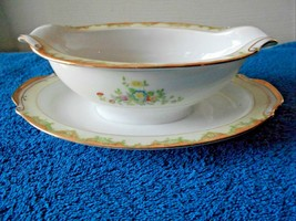 Hand Painted Gravy Boat with attached plate Green Stamp Lovely Yellow fl... - $12.70