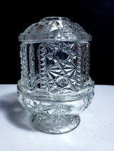 """Vintage Indiana Glass Clear Stars and Bars 2 Piece 6 1/2"""" Fairy Lamp ING7 - $11.88"""