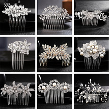 Miallo Rhinestone Hairpins Accessories Bride Pearl Hair Side Combs Women... - $12.20