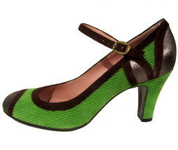 Marc by Marc Jacobs green heels 9.5 US 39.5 EU corduroy cap toe shoes NE... - $100.00