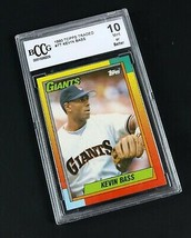 Beckett BCCG Mint 1990 Topps Traded #7T KEVIN BASS Graded 10 Baseball Card - $8.56