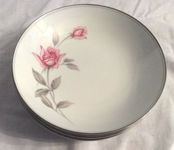 "5 Noritake Rosemarie Soup Cereal Bowl Pink Rose Leaves Silver Vintage 7 1/4"" - $27.71"