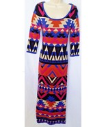 Flying Tomato Womens Sweater Dress 3/4 Slv Aztec Geometric Red Black Blu... - $29.99