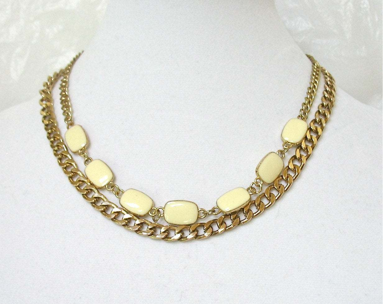 Double Chain Necklace, Ivory White Links, Curb Chain, Multiple Chains, Multi Cha