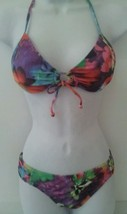 Candies Bikini JR Set Halter Padded Top Floral Multi-Color Scoop Bottom S M L XL - $19.99
