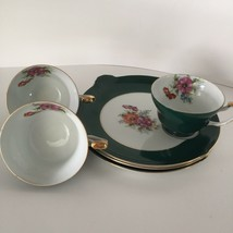 3 Sets Occupied Japan Luncheon Snack Plate & Demitasse Cup Green Gold Trim - $31.64