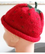 "Child Strawberry Hat / Cap / Beanie 20.4"" circumference - $19.95"
