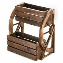 Wagon Wheel Wood Double Tier Planter - $96.74 CAD