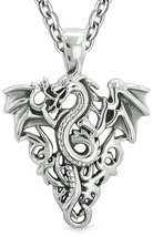 Amulet Flying Dragon Celtic Protection Knots Courage Fire Flames Lucky C... - $55.38