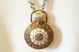 Avon Pocket Watch Style Perfume Bottle Pendant Necklace Chain Vintage Es... - $18.76