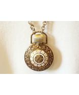 Avon Pocket Watch Style Perfume Bottle Pendant Necklace Chain Vintage Es... - $18.76