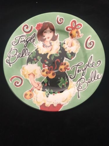 "American Atelier Porcelain Canape Plate Jingle Belles 5419 Jingle Belle 6 1/2"""
