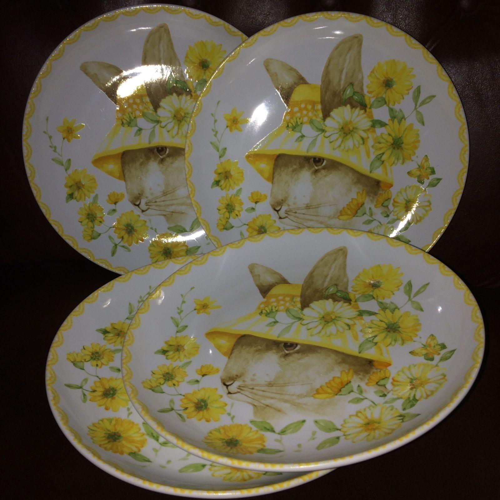 222 Fifth Easter Bunny Rabbit Floral Appetizer Dessert Plates Ice Cream Bowl Set