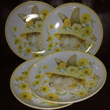 """(6) 222 FIFTH Bunny Party Yellow Hat Salad/Dessert Plates 8""""  ~NEW ~ - $79.98"""