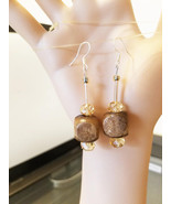 brown big bead drop earrings long dangles wood glass beaded jewelry By E... - $5.99