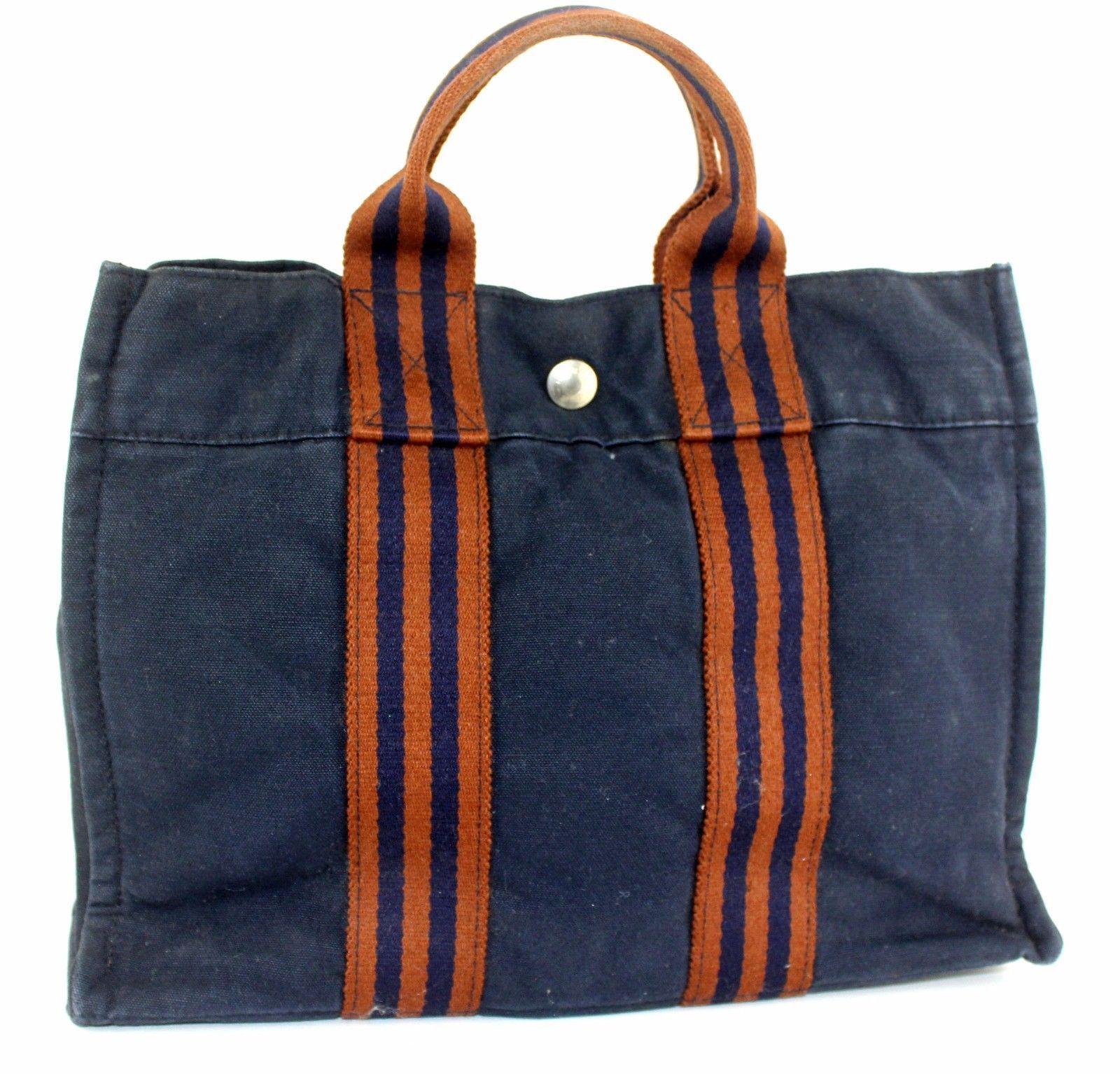 2a8c91a34 57. 57. Previous. 100%Auth HERMES Paris Fourre Tout MM Navy Canvas 100%Cotton  Tote Small Handbag. 100%Auth HERMES ...
