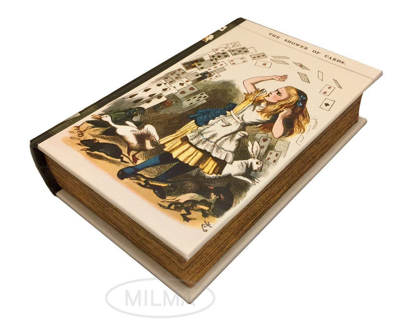 Primary image for The Shower of Cards from Alice in Wonderland Book Box Leather Over Wood