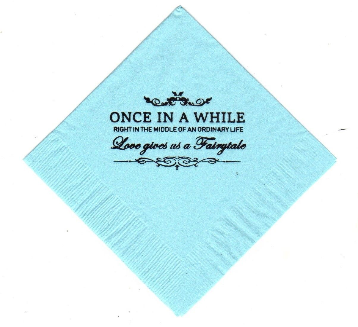 Primary image for ONCE IN A WHILE 50 printed cocktail beverage napkins pick napkin and font color