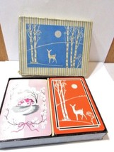 PLAYING CARDS VINTAGE DOUBLE DECK LINEN HOUSE FLOWERS AND DEER W BIRCH TREE - $23.00