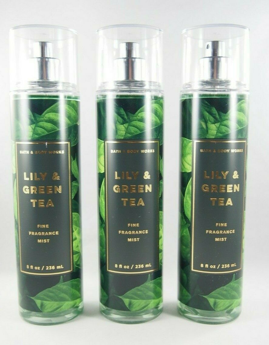 Primary image for (3) Bath & Body Works Lily & Green Tea Fragrance Body Spray Mist 8oz New