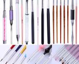 Dual-ended Painting Pen Liner Drawing UV Gel Brush Dust Clean Pen Nail Art Tools