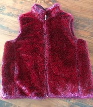 GUESS FAUX FUR VEST Burgundy red Sz M REVERSIBLE Smooth Shimmery Deep Re... - $34.47