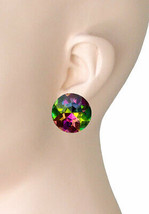 """1"""" Drop Round Iridescent Vitrail Green Crystals Clip On Earrings Costume Jewelry - $13.78"""