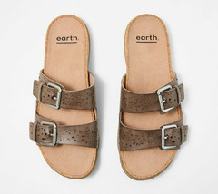 Earth Perforated Leather Slide Sandals- Sand Antigua Warm Taupe 11 M - $69.29