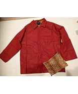NEW WOMENS packable rain JACKET COAT = OUTBROOK = SIZE MEDIUM LARGE LEOPARD - $21.77