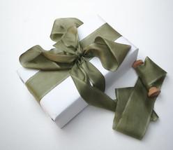 Silk ribbon, Olive Green, hand-dyed silk ribbon - $11.10+